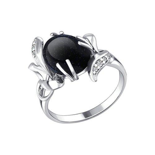 Серебряное колечко с чёрным авантюрином SOKOLOV