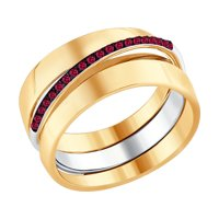 Кольцо из комбинированного золота с рубинами
