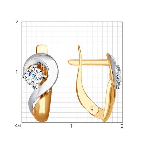 Серьги из золота с фианитами (027276) - фото №2