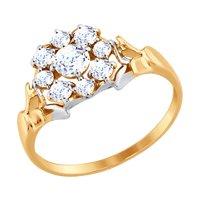 Золотое кольцо со Swarovski Zirconia