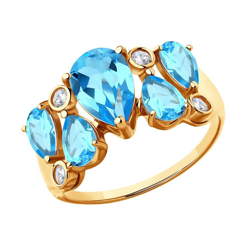 Кольцо SOKOLOV из золота с топазами и фианитами фото