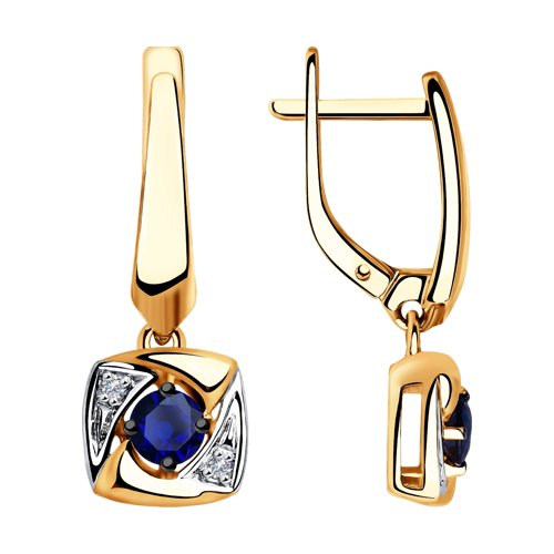 Серьги из золота с бриллиантами и синими корундами (6022144) - фото