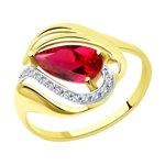 Кольцо из желтого золота с красным корундом (синт.) и фианитами