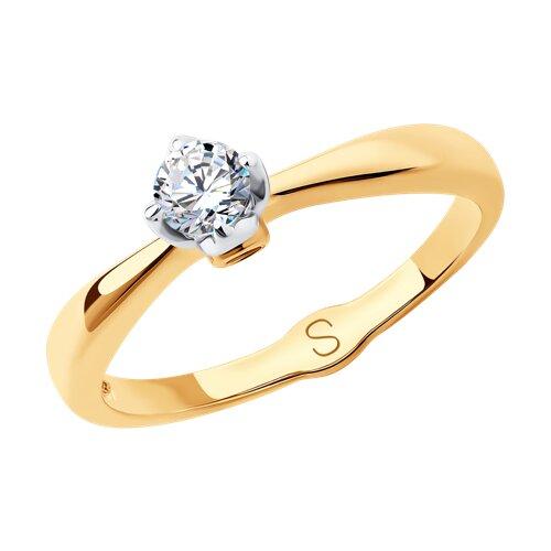 Кольцо из золота с фианитами (017969) - фото