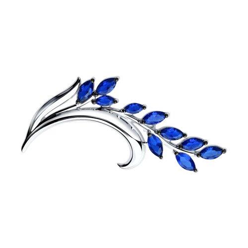 Брошь из серебра с синими фианитами