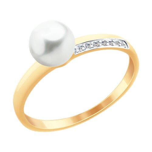 Кольцо из золота с жемчугом и фианитами (791056) - фото