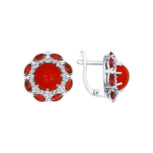 Серьги из серебра с кораллами и красными фианитами