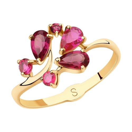 Кольцо из золота с родолитами и красными корунд (синт.) (715645) - фото