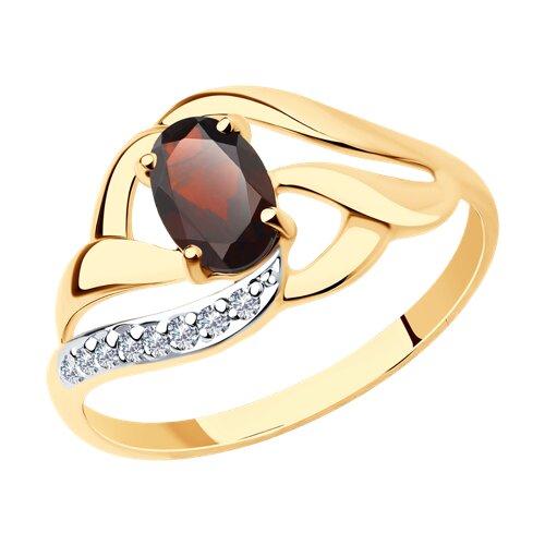 Кольцо из золота с гранатом и фианитами (714647) - фото