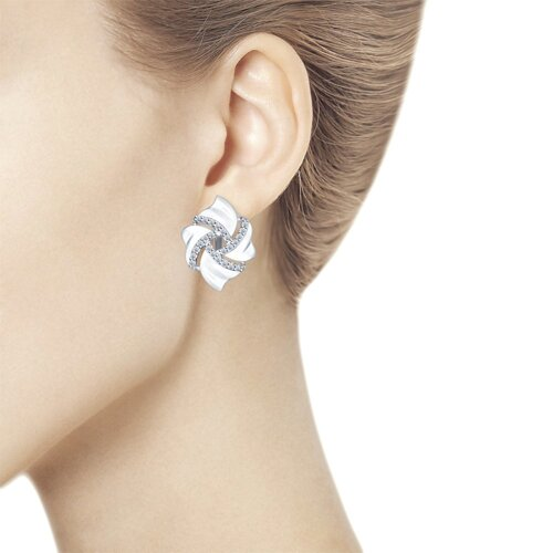 Серьги из серебра с фианитами (94022014) - фото №3