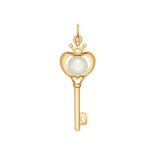 Подвеска «Ключик» из золота с жемчугом