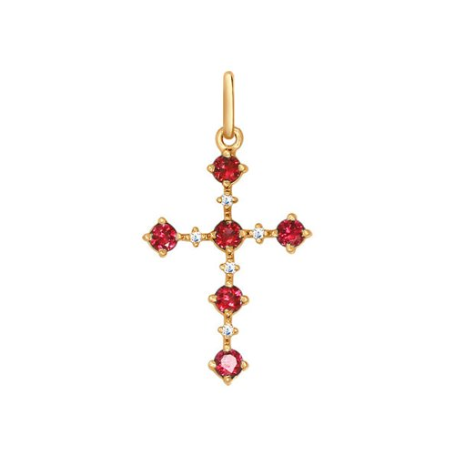 Декоративный крест c бриллиантами и рубинами