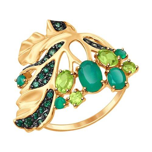 Кольцо «Листок» SOKOLOV из золота с миксом камней