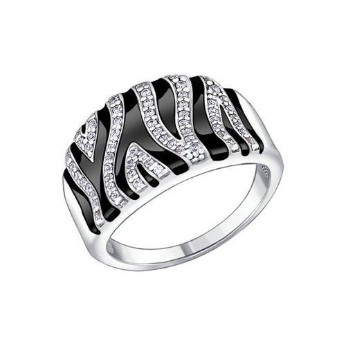 Кольцо SOKOLOV из серебра с эмалью с фианитами кольцо с 146 фианитами из серебра