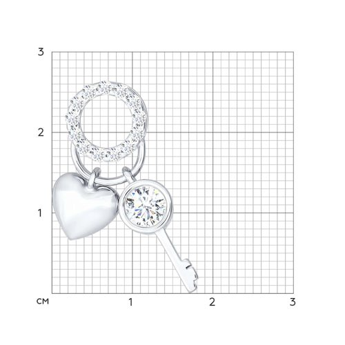 Кулон «Сердце и ключ» (94031180) - фото №2