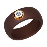 Кольцо из керамики с золотом и бриллиантом