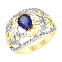 Кольцо из желтого золота с синим корундом (синт.) и фианитами