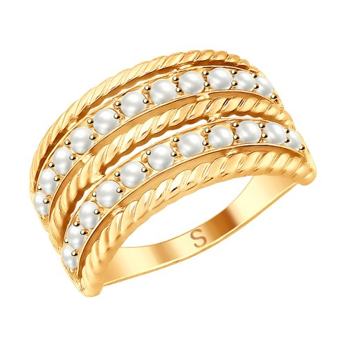 Кольцо из золочёного серебра с жемчугом Swarovski