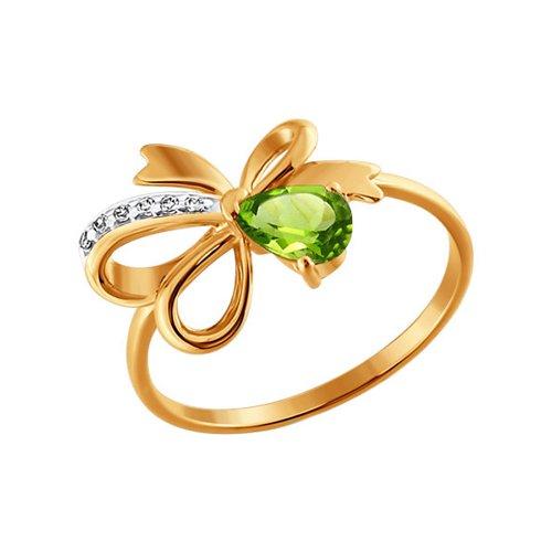 Золотое кольцо, украшенное бантиком с хризолитом и дорожкой фианитов SOKOLOV золотое кольцо ювелирное изделие k 11013