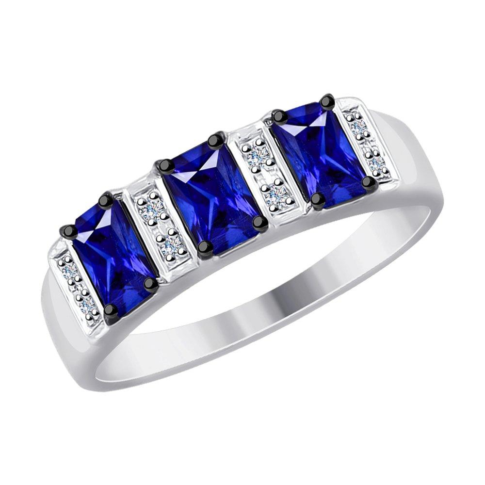 Кольцо SOKOLOV из белого золота с бриллиантами и синими корунд (синт.) фото