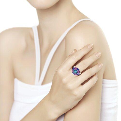 Кольцо из серебра с эмалью с синим ситаллом и синими и сиреневыми фианитами