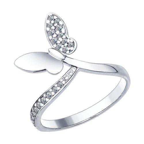 Кольцо из серебра с фианитами (94012416) - фото