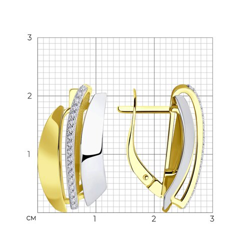 Серьги из желтого золота с фианитами 028819-2 SOKOLOV фото 2
