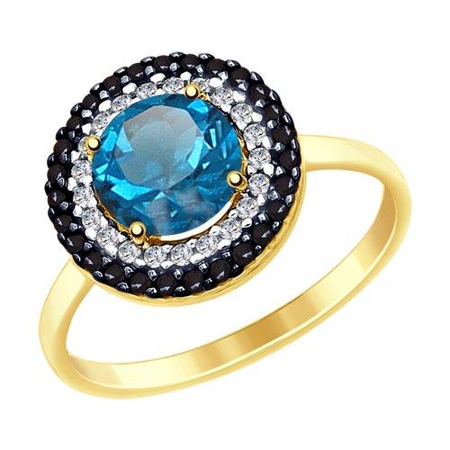 Кольцо из желтого золота с синим топазом и фианитами (51714973) - фото