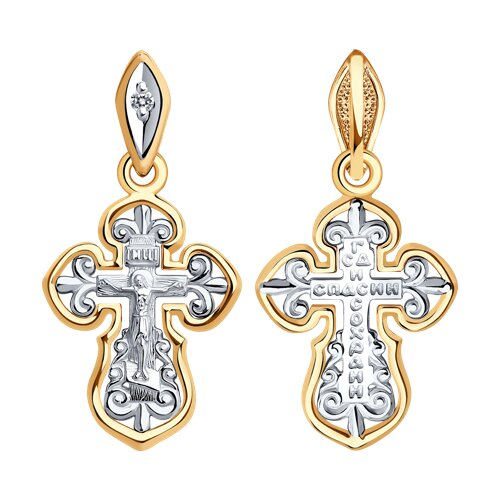 Крест из комбинированного золота с бриллиантом