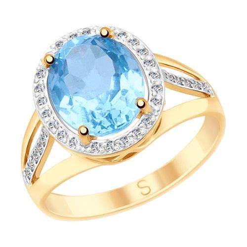 Кольцо из золота с топазом и фианитами (715068) - фото