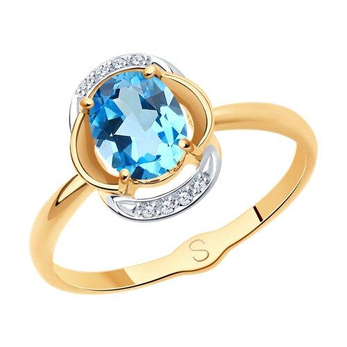 Кольцо из золота с топазом и фианитами (715278) - фото