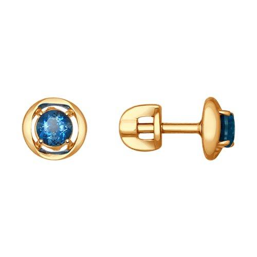 Серьги-пусеты из золота с синими топазами (37724598) - фото