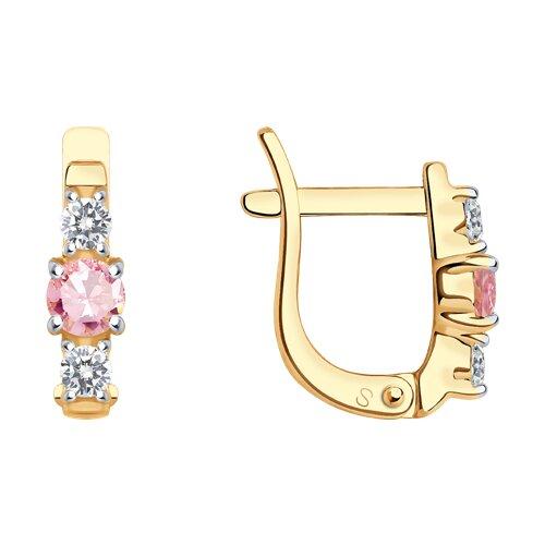 Серьги из золота с розовыми фианитами (026839) - фото