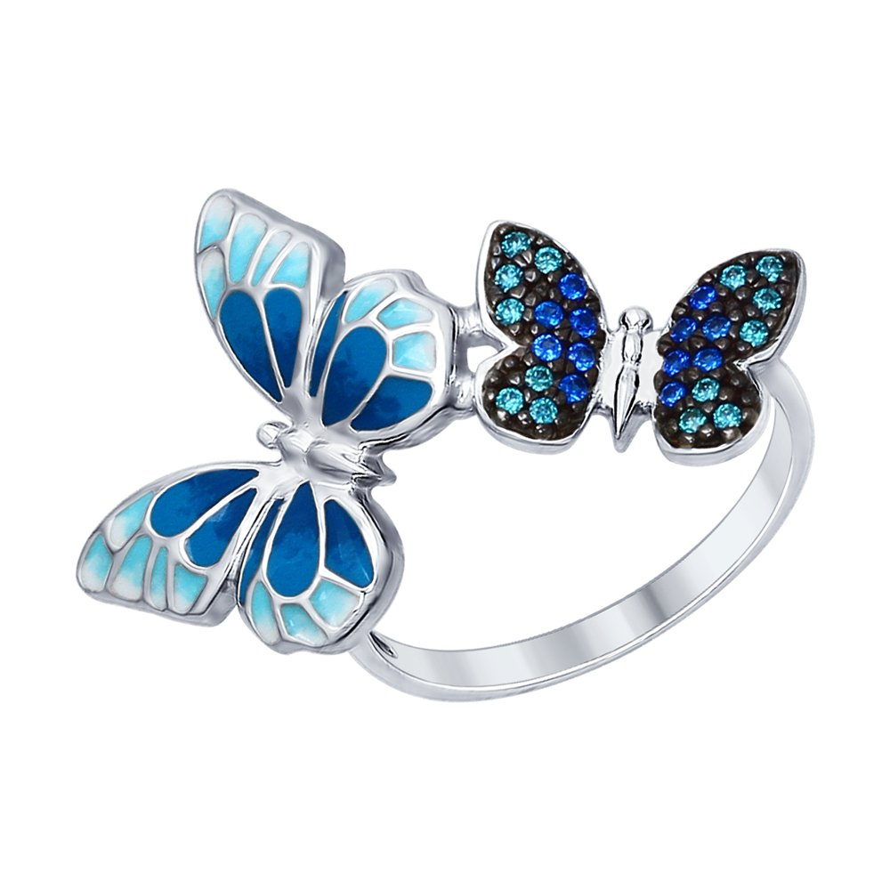 Серебряное кольцо «Бабочки» SOKOLOV