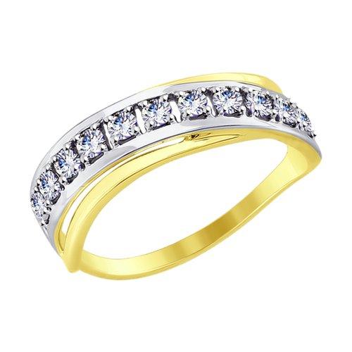 Кольцо из желтого золота с фианитами 017550-2 sokolov фото