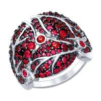 Кольцо из серебра с красными фианитами