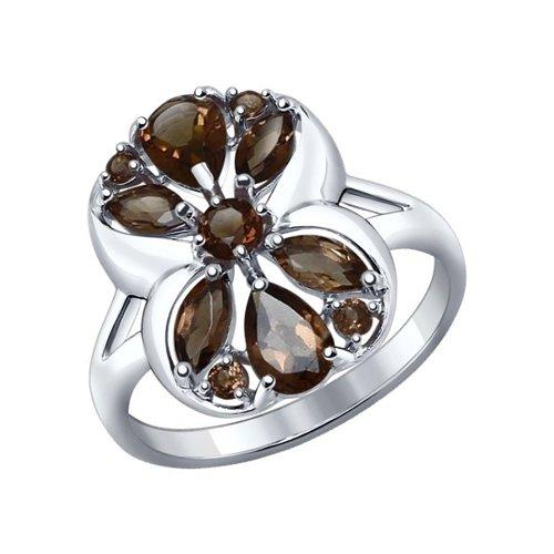 Кольцо из серебра с раухтопазами