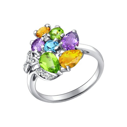 Кольцо SOKOLOV из серебра с миксом камней кольцо листок с миксом камней sokolov