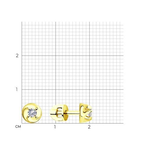 Серьги из желтого золота с бриллиантами 1021309-2 SOKOLOV фото 2