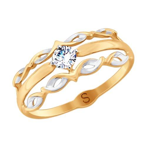 Кольцо из золота с фианитом (017876) - фото