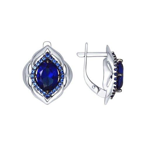 Серьги из серебра с корундами сапфировыми (синт.) и синими фианитами