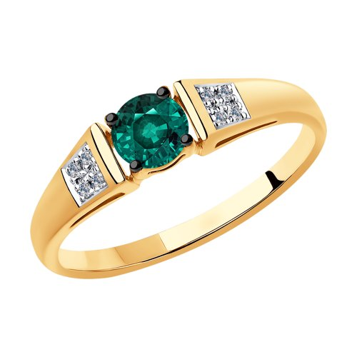 Кольцо из золота с бриллиантами и гидротермальным изумрудом (синт.) (6017027) - фото