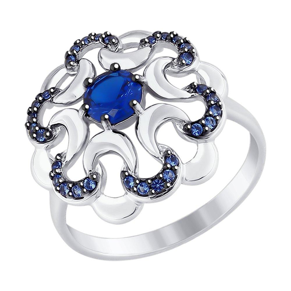 Кольцо SOKOLOV из серебра с синими фианитами фото