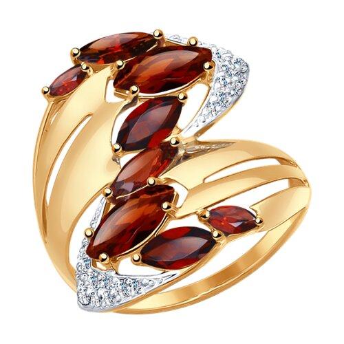 Кольцо из золота с гранатами и фианитами (37714547) - фото