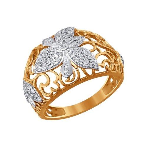 Золотое кольцо с цветком SOKOLOV из белого золота и фианитов золотое кольцо ювелирное изделие k 11013