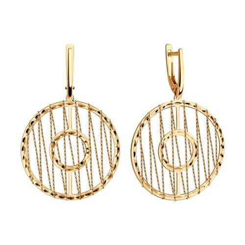Серьги из золота с алмазной гранью (028708) - фото №2