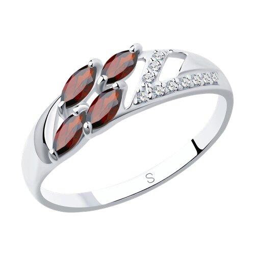 Кольцо из серебра с гранатами и фианитами (92011643) - фото