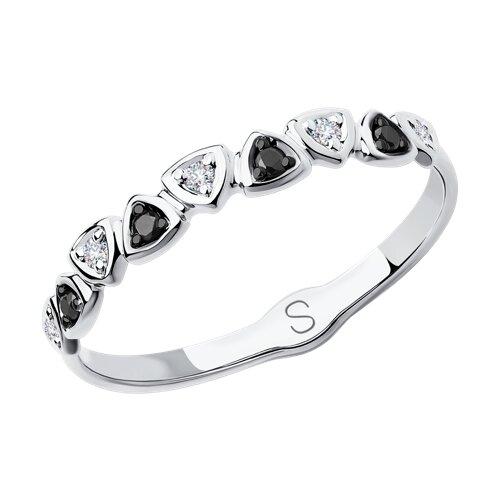 Кольцо из белого золота с бесцветными и чёрными бриллиантами (7010051) - фото