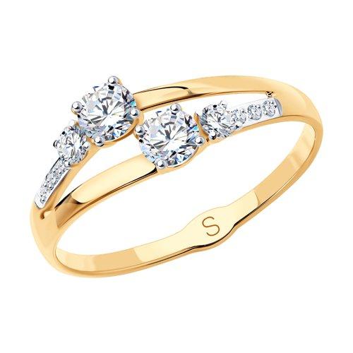 Кольцо из золота с фианитами (017905) - фото