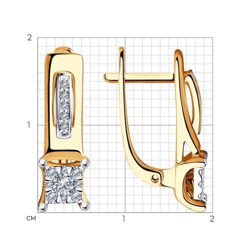 Серьги из комбинированного золота с бриллиантами 1021394 SOKOLOV фото 2